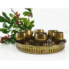 Brass tray and goblets Cordial Cups ($44) ❤ liked on Polyvore featuring home, kitchen & dining and drinkware