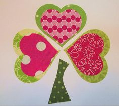 St. Patrick's Day Fabric Applique - Iron or Sew On - Pieced Shamrock - Pinks and Greens. $3.00, via Etsy.