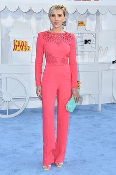 MTV Movie Awards 2015: Scarlett Johansson wowed in a pink Zuhair Murad jumpsuit