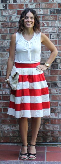 Subtle polka dots with a striped skirt