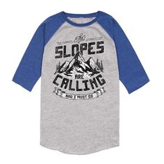 """Those slopes aren't going to ski themselves! If your little one is off in search of snowy adventure then let them do it in style with this """"The Slopes Are Calling And I Must Go"""" Raglan Baseball Tee from Kidteez! Available in sizes small, medium, large, and XL. Get yours today!"""