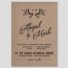 Printable Wedding Invitation Template - WILD AND FREE Rustic Antlers - Instant…