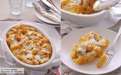 Receta de gratinado de pasta cremosa con calabaza. Con fotografías del paso a paso, consejos y sugerencias de degustación. Recetas de pasta. Receta otoñal