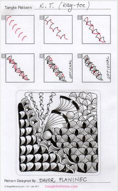 Online instructions for drawing Davor Planinec's Zentangle® pattern: Kay-tee. Zen Doodle Patterns, Doodle Borders, Doodle Designs, Mandala Pattern, Zentangle Patterns, Mandala Design, Zentangle Drawings, Doodles Zentangles, Doodle Drawings