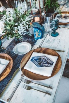 An Intertwined Event: Boho Chic Wedding at Calamigos Ranch Table Numbers Wedding Tablescape Table Runner White Wood Table Found Rentals Wood Chargers Chic Wedding, Wedding Trends, Blue Wedding, Trendy Wedding, Wedding Colors, Wedding Ideas, Wedding Inspiration, Indigo Wedding, Wedding Flowers