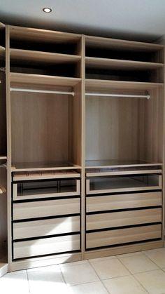 ideas for bedroom ikea pax closet hacks Walk In Closet Ikea, Ikea Pax Closet, Ikea Closet Organizer, Ikea Pax Wardrobe, Wardrobe Design Bedroom, Master Bedroom Closet, Bedroom Wardrobe, Closet Drawers, Wardrobe Closet