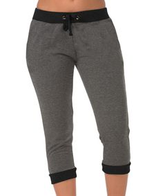 Look at this #zulilyfind! Charcoal & Black Contrast Capri Joggers - Plus Too by Coco Limon #zulilyfinds