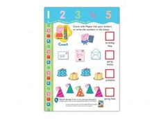 This Peppa Pig counting activity sheet features items at a party including party hats, presents and invites