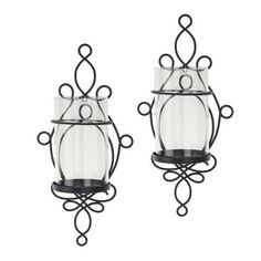 Better Homes and Gardens Wall Sconce Pillar Candle Holders, 2-Piece