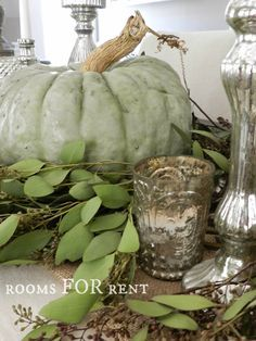 Green Pumpkin, Mercury Glass Thanksgiving Tablescape