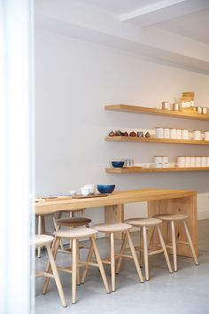Song Tea and Ceramics // Pacific Heights, San Francisco // via Spotted SF Coffee Shop Interior Design, Italian Interior Design, Coffee Shop Design, Plywood Furniture, Design Furniture, Kid Furniture, Cafe Restaurant, Restaurant Design, Modern Restaurant