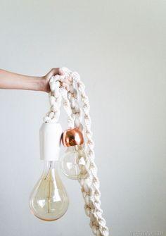 Giant DIY Macrame Rope Lights to add to your boho home decor #bohohome #lighting #macrame