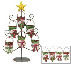 "#burtonandburton Tin snowman ornaments in the shape of mittens with metal tree stand.Ornaments: 5 1/2""H X 2 3/4""W.Tree: 20""H X 13"" W.Set includes 24 ornaments."