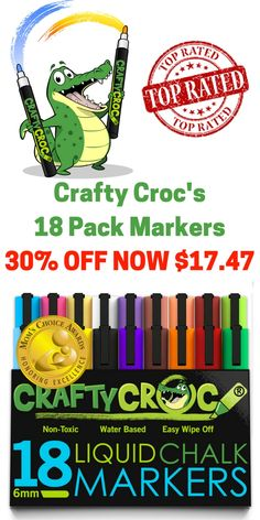 30% Off Today at http://amzn.to/2cHqz8p for this 18 Pack of our Award Winning Liquid Chalk Markers. These fantastic chalk markers have opaque vibrant colors! Great for crafts, art projects, and fun notes on mirrors and windows.WAS $24.95 NOW $17.47. 4 Days only Try a pack at an awesome price!