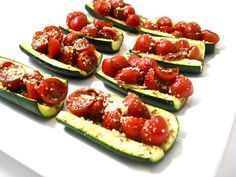 Low Carb Zucchini Bruschetta. Here's a New sensational low carb, low calorie, low fat and low sugar take on bruschetta. And, it's drop dead delicious!!! Great for an appetizer, side vegetable or even a meatless meal. Each skinny piece has just 23 calories, 1 gram of fat and 0 Weight Watchers POINTS PLUS! http://www.skinnykitchen.com/recipes/low-carb-zucchini-bruschetta/