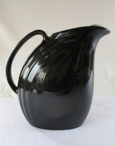 Pitcher Hall Type Vintage Black Glaze Ceramic Water Pitcher 6 Cup Water Juice Container Retro Dining Serving Art Deco Design (20.00 USD) by HobbitHouse