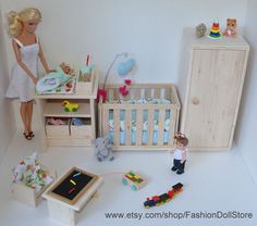 Crib For Doll Nursery In 1/6 Scale / Playscale (barbie, Happy Family, Barbie…