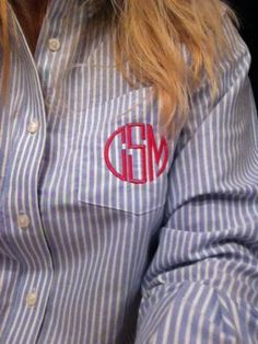Monogrammed Oxford Blue Stripe Shirt TinyTulip.com We're All About Personalization - Gifts Monogram Embriodery