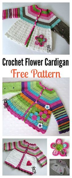 Free Crochet Flower Cardigan Sweater Pattern