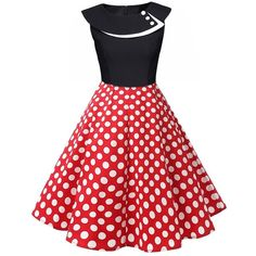 Polka Dot Swing Pin Up A Line Dress (1,090 MKD) ❤ liked on Polyvore featuring dresses, a line shape dress, polka dot a line dress, spotted dress, red polka dot dresses and red pinup dress