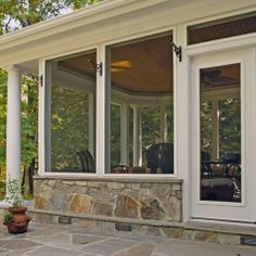 love the stone kneewall knee wallstraditional porchscreened in porchscreened porch designsthe - Screened Patio Ideas
