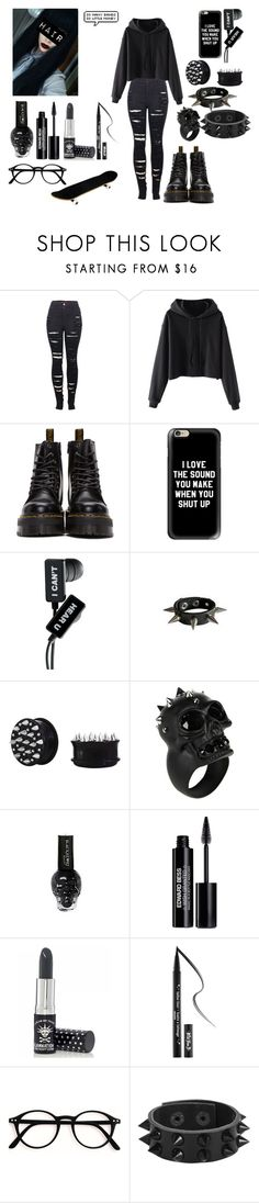 """""""All in black"""" by kiara-cvrtnjak on Polyvore featuring moda, 2LUV, Dr. Martens, Sirius, Casetify, Alexander McQueen, Hot Topic, Edward Bess, Manic Panic NYC i Kat Von D"""