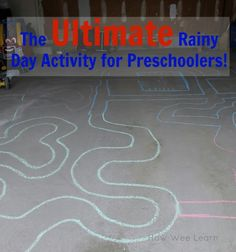 Such an awesome rainy day activity for preschoolers, turn the garage into a road!