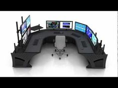 Sight-Line Control Room Console // Security System Monitor, Public Announcement . - Sight-Line Control Room Console // Security System Monitor, Public Announcement and HAMM Radio Stat - Computer Gaming Room, Gaming Desk Setup, Computer Setup, Home Office Setup, Home Office Design, Security Room, Video Game Rooms, Game Room Design, Gamer Room