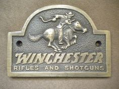 Solid Brass Winchester Guns Hunting Horse Pony Rider Store Plaque Sign Free Ship #Winchester