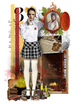 """""""Gryffindor Girl"""" by martasmiling ❤ liked on Polyvore featuring S.W.O.R.D., CO, Hell Bunny, Johnny Loves Rosie, Karl Lagerfeld, Olive, Dollhouse, Lauren Hutton, gryffindo and hogwarts"""