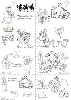 Teacher's Pet Displays » Nativity story sequencing (black & white) » FREE downloadable EYFS, KS1, KS2 classroom display and teaching aid resources » A Sparklebox alternative