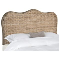 Safavieh Furniture Imelda Grey Headboard - The classic queen size camelback headboard is refreshed with the hand-crafted look and texture of woven Kubu rattan in pretty grey tones, with rattan Rattan Headboard, Grey Headboard, Full Headboard, Queen Headboard, Panel Headboard, Headboards, Upholstered Chairs, Grey Furniture, Wicker Furniture