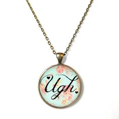 Floral Pastel Goth Ugh <3 Necklace - Funny Antisocial Pastel Goth Soft Grunge Jewelry