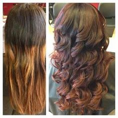Ombre hair. This is why you don't just go anywhere for ombré. Color correction; before & after. (Finished product on Right) by: Sam Swisher
