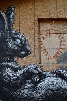 hares street art Roa en the Navajo Nation