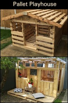 Build the Kids a Pallet Playhouse! Do your kids want a playhouse? Make one using reclaimed pallets! The post Build the Kids a Pallet Playhouse! appeared first on DIY Crafts. Diy Pallet Furniture, Diy Pallet Projects, Backyard Projects, Wood Projects, Backyard Playground, Backyard For Kids, Diy For Kids, Play House Outdoor Kids, Outdoor Play