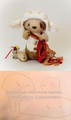 выкройка шапочки - овечки для медвежонка тедди / Pattern hat lamb Teddy Bear: