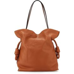 Loewe Flamenco Knot Bucket Bag ($2,550) ❤ liked on Polyvore featuring bags, handbags, shoulder bags, handbags bucket bags, tan, tan shoulder bag, hand bags, tan purse, handbag purse and top handle purse