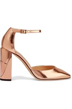 Heel measures approximately 95mm/ 4 inches Rose gold mirrored-leather Buckle-fastening ankle strap Made in Italy
