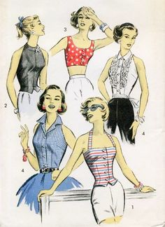 1950s Advance 8309 Vintage Sewing Pattern Four Tops for Sports, Sun or Evening Wear Rockabilly Flirty Designs Bust 36