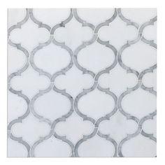 Marrakech Arabesque Waterjet Mosaic Polished Carrara Marble White Thassos Tile #TileBuys