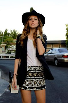 I just love the skirt prints and the contrast of classic black and white.
