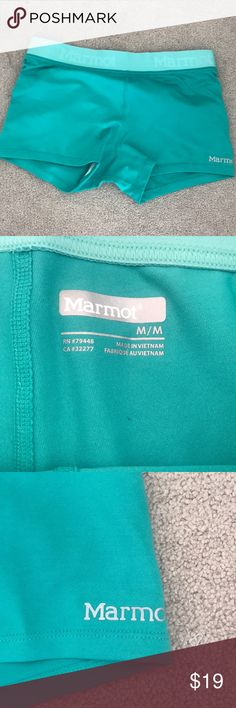 Women's marmot workout shorts Women's marmot size medium workout shorts. Pretty teal color., Very stretchy and comfy! Worn once Marmot Shorts