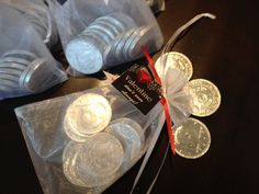 Materials: Large Silver foil covered chocolate coins White x Organza Bags Gartner 1 square Favour Tag Directions: Place twelve of the large silver foil chocolate coin… Chocolate Coins, Favor Tags, Valentines Day, About Me Blog, Change, Personalized Items, Valentine's Day Diy, Valentines, Valentine's Day