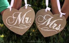 Mr. & Mrs. Chair Sign. Burlap Sign. Rustic Wedding Decor. Shabby Chic. Burlap wedding chair. on Etsy, $34.00