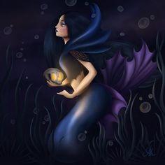 Mermaid Zodiac, colours inspired by gemstones: 7 - Obsidian Mermaids, Disney Characters, Fictional Characters, Zodiac, Colours, Gemstones, Inspired, Disney Princess, Illustration