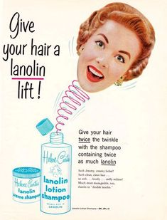 Give your hair a lift! Vintage Lanolin Lotion Shampoo ad.