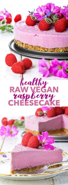 Raw Vegan Raspberry Cheesecake {gluten dairy egg soy peanut & refined sugar free vegan paleo} - This raw vegan cheesecake is the perfect summer dessert: creamy refreshing and perfectly balanced due to the slight tartness of the raspberries. The lem Healthy Vegan Dessert, Coconut Dessert, Raw Vegan Desserts, Raw Vegan Recipes, Vegan Treats, Healthy Dessert Recipes, Vegan Foods, Raw Vegan Cake, Lactose Free Desserts