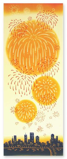 [材 質] 綿100% 〔特岡〕 [サイズ] 約 36×90 cm ※こちらの商品は注染(手染め)です。 [柄コンセプト] オレンジに染まる夕暮れ時。 もうすぐ終わる夏の終わりに思いをはせつつ、 いよいよ花火が打ちあがり、 空を一層オレンジに染めます。