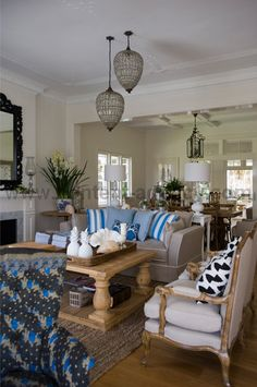 Indah Island Interiors - Neutral with pop of blue.. black light fittings. - indooroopilly2